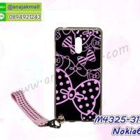 M4325-31 เคสยาง Nokia6 ลาย Bow X22 พร้อมสายคล้องมือ