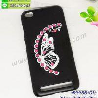M4456-01 เคสแข็งแต่งคริสตัล Xiaomi Redmi5a ลาย Pink Butterfly