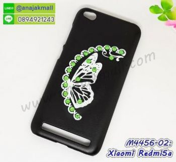 M4456-02 เคสแข็งแต่งคริสตัล Xiaomi Redmi5a ลาย Green Butterfly