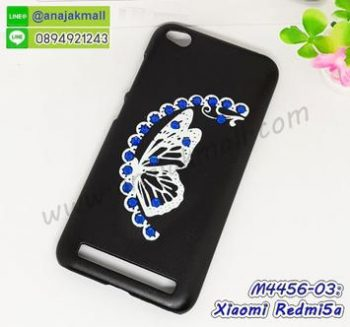 M4456-03 เคสแข็งแต่งคริสตัล Xiaomi Redmi5a ลาย Blue Butterfly