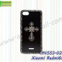 M4553-02 เคสขอบยาง Xiaomi Redmi6a แต่งคริสตัลลาย Cross01
