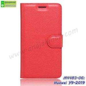 M4483-06 เคสหนังฝาพับ Huawei Y9 2019 สีแดง