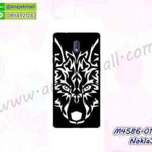 M4586-01 เคสแข็งดำ Nokia3 ลาย Wolf II