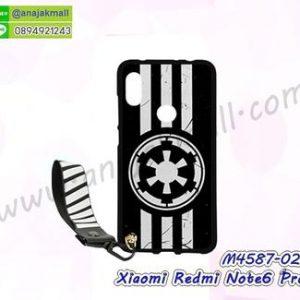 M4587-02 เคสยาง Xiaomi Redmi Note6Pro ลาย Black02 พร้อมสายคล้องมือ