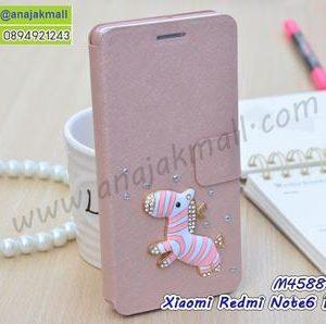 M4588-11 เคสหนัง Xiaomi Redmi Note6Pro แต่งคริสตัลลาย Zebra II