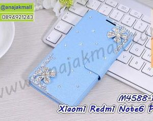 M4588-19 เคสหนัง Xiaomi Redmi Note6Pro แต่งคริสตัลลาย Fresh Flower IV