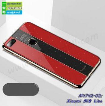 M4742-02 เคสยาง Xiaomi Mi8 Lite หลังอะคริลิค สีแดง