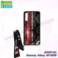M4787-01 เคสยาง Samsung Galaxy A7-2018 ลาย 7Red พร้อมสายคล้องคอ