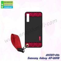 M4787-03 เคสยาง Samsung Galaxy A7-2018 ลาย Red Luxury พร้อมสายคล้องมือ