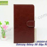 M4904-03 เคสฝาพับไดอารี่ Samsung S6Edge Plus สีน้ำตาล