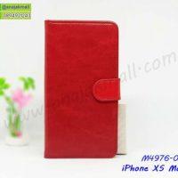M4976-01 เคสฝาพับไดอารี่ iPhone XSMax สีแดงเข้ม