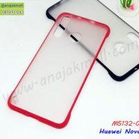 M5132-01 เคส PC หลังใส Huawei Nova4 ขอบยางสีแดง