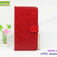 M5186-01 เคสฝาพับไดอารี่ OPPO Realme3 สีแดงเข้ม