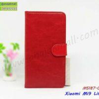 M5187-01 เคสฝาพับไดอารี่ Xiaomi Mi9lite สีแดงเข้ม