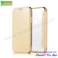 M5205-01 เคสฝาพับ iPhone11pro Max หลังใส สีทอง