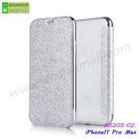 M5205-02 เคสฝาพับ iPhone11pro Max หลังใส สีเงิน