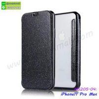 M5205-04 เคสฝาพับ iPhone11pro Max หลังใส สีดำ