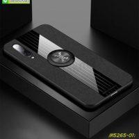 M5265-01 เคส Xiaomi Mi9 ขอบยางหลังแหวนลายหนัง สีดำ
