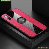 M5265-05 เคส Xiaomi Mi9 ขอบยางหลังแหวนลายหนัง สีแดง