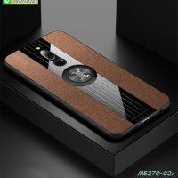 M5270-02 เคส Xiaomi Redmi8 ขอบยางหลังแหวนลายหนัง สีน้ำตาล
