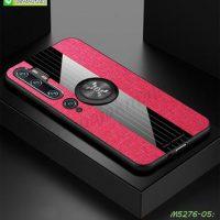 M5276-05 เคส Xiaomi Mi Note10 ขอบยางหลังแหวนลายหนัง สีแดง
