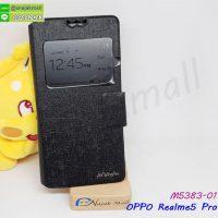M5383-01 เคสหนัง OPPO Realme5 Pro โชว์เบอร์ หมุนได้ สีดำ