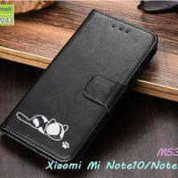 M5387-01 เคสฝาพับ Xiaomi Mi Note10 ลายแมว สีดำ