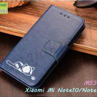 M5387-02 เคสฝาพับ Xiaomi Mi Note10 ลายแมว สีน้ำเงิน