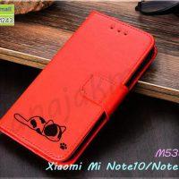 M5387-04 เคสฝาพับ Xiaomi Mi Note10 ลายแมว สีแดง