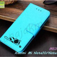 M5387-05 เคสฝาพับ Xiaomi Mi Note10 ลายแมว สีฟ้า