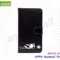 M5415-01 เคสฝาพับ OPPO Realme5 Pro ลายการ์ตูน สีดำ