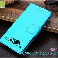 M5433-05 เคสฝาพับ OPPO A5 2020 / A9 2020 ลายแมว สีฟ้า