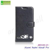 M5436-01 เคสฝาพับ Xiaomi Redmi Note8 Pro พิมพ์ลายแมว สีดำ