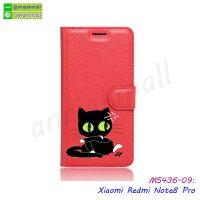 M5436-09 เคสฝาพับ Xiaomi Redmi Note8 Pro พิมพ์ลายแมวโกรธ สีแดง