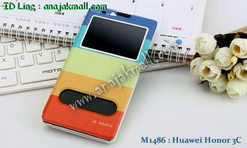 M1486-04 เคสโชว์เบอร์ Huawei Honor 3C ลาย Colorfull Day