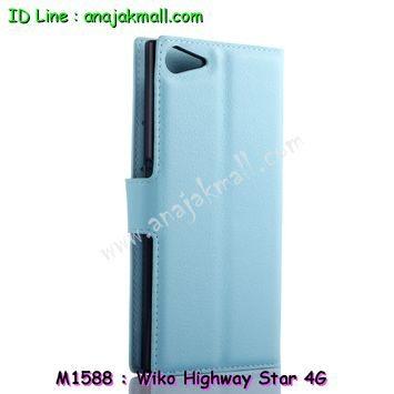 M1588-06 เคสฝาพับ Wiko Highway Star 4G สีฟ้า