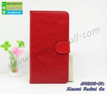M4808-01 เคสฝาพับไดอารี่ Xiaomi Redmi Go สีแดงเข้ม