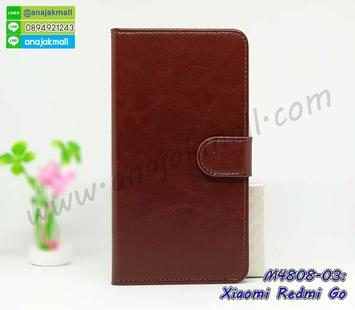 M4808-03 เคสฝาพับไดอารี่ Xiaomi Redmi Go สีน้ำตาล